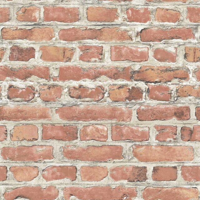 Rasch Rojo Papel Pintado Efecto Ladrillo Rollos (235203) Nuevo Muro Elemento