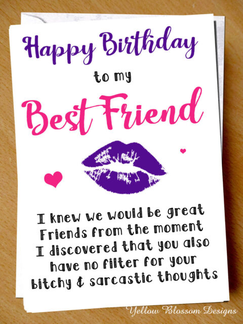 Novelty Happy Birthday Bff Greeting Card Best Friend Funny Mates Fun Friends For Sale Online Ebay