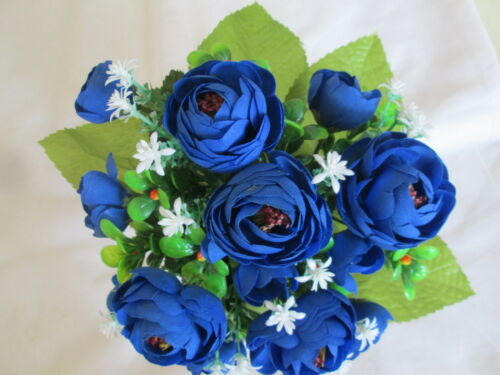 Deko Kamelie Rosen Strauß 27x22cm Künstliche Kunst Seiden Blumen Blüte Muttertag