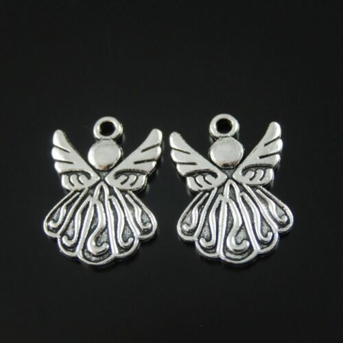 Retro Silver Alloy Angel Wing Party Dressing Charms Pendants DIY 19*15*2mm 30pcs
