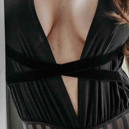Schrittoffen Body Streifen Schwarz Neckholder Transparent Design Petitenoir BFH7YH