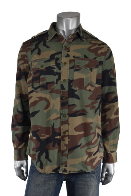 Ralph Lauren Polo Green Cotton Military Army Camo BUTTON FRONT Shirt New L