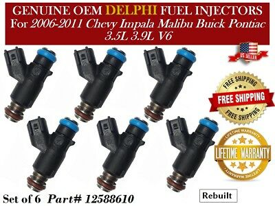 Genuine Single Delphi Fuel Injector for 2007 2008 Chevrolet Uplander 3.9L 2009 2010 Chevrolet Malibu 3.5L 12616862