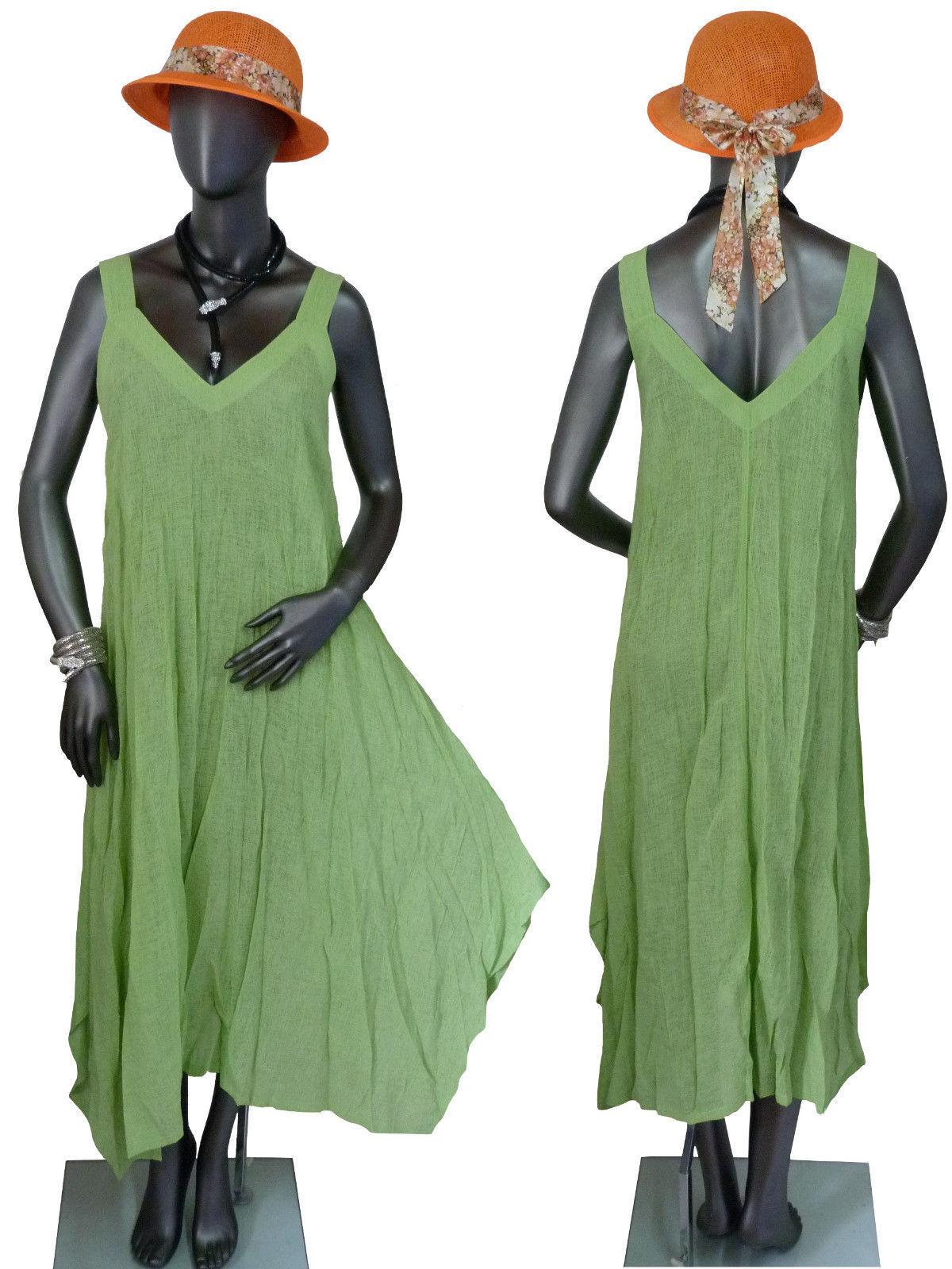 40 42 44  ESCALADYA Kleid Sommerkleid Strandkleid Trägerkleid leicht lang Kiwi