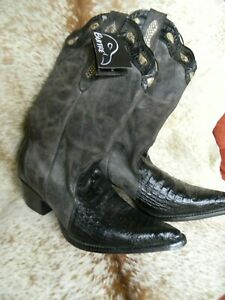 Ladies-Size-10-1-2-US-27-5-Mexican-Handcrafted-Cowboy-Boots-Black-NEW