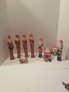 9-VINTAGE-CHRISTMAS-SANTA-CLAUS-COLLECTION-LOT-FIGURED-Rare-Piece-039-s-Galore