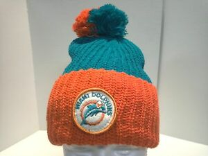 Miami Dolphins Vintage 2-Tone Bulky Knit Cuffed Hat With Pom