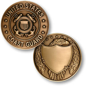 Details about BIG Coast Guard Medallion with Display Stand & Case USCG  Challenge Coin Bronze