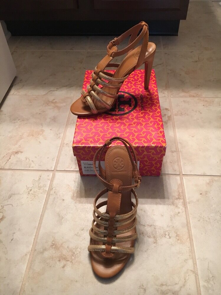 NEW TORY BURCH  295 Charlene gold brown strappy heels sandals size 8.5