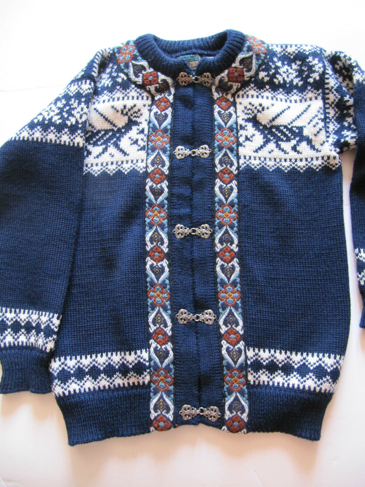 DALES OF NORWAY WOOL SWEATER SIZE SIZE SIZE 38 NAVY WHITE RUST OSLO SWEATER SHOP VERY NICE ee4964