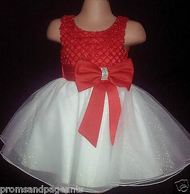 Rosso Avorio Flower Girl Damigelle D'onore Prom Diamante Luccicante Partito Abito 0-6m - 13y-