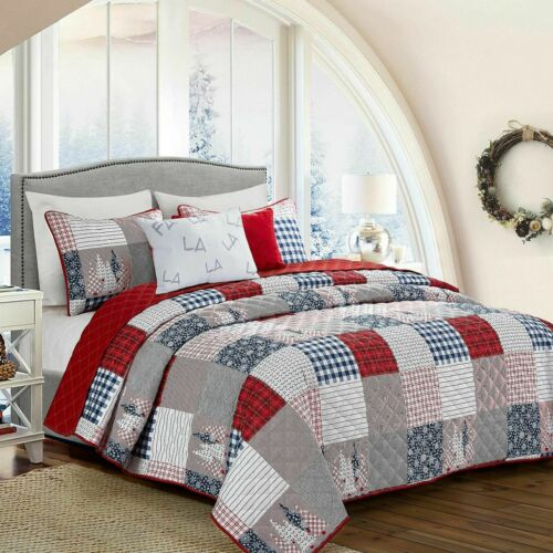 5-Piece Patchwork-look Madras Plaid Print Full//Queen or King Quilt Set in Red