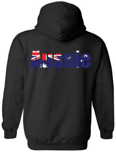 Hoody Aussie Jumper Pressed in Australia flag Heavy Blend Australia word pride