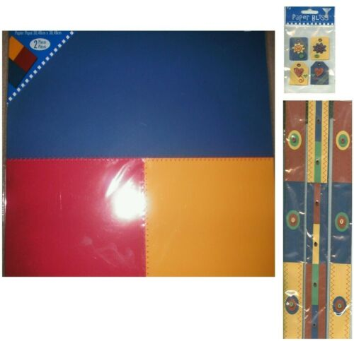 Primary Red Yellow Blue Stitched Paper Tags Borders 12 x 12 Paper Bliss Page Kit