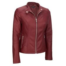 Black Rivet Womens Moto Mock Collar Faux-Leather Jacket