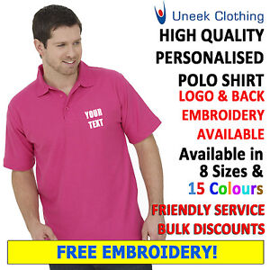 Personalised-Embroidered-Polo-Shirts-Customised-Workwear-Free-Text-Uneek-UC101