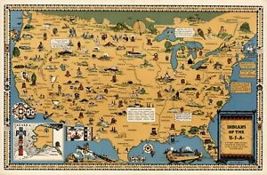 Indians of the USA Native American Tribes Midcentury Pictorial Map