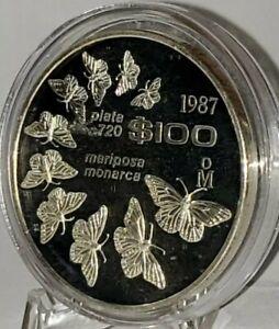 Mexico-100-Pesos-Proof-1987-Monarch-Butterflies-Scarse-commemorative