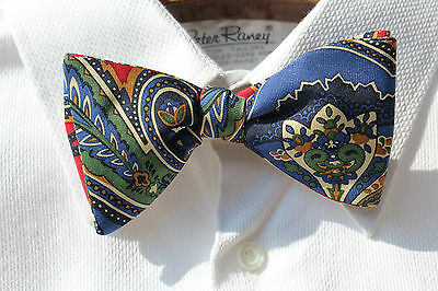 The Bow Tie Club Blue, Green, and Ivory Paisley PRE-TIED Silk Bow Tie - USA