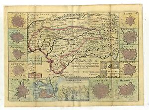 Carte Geographique Andalousie.Details Sur Gravure Carte Geographique Ancienne Royaume D Andalousie Grenade Espagne 1748