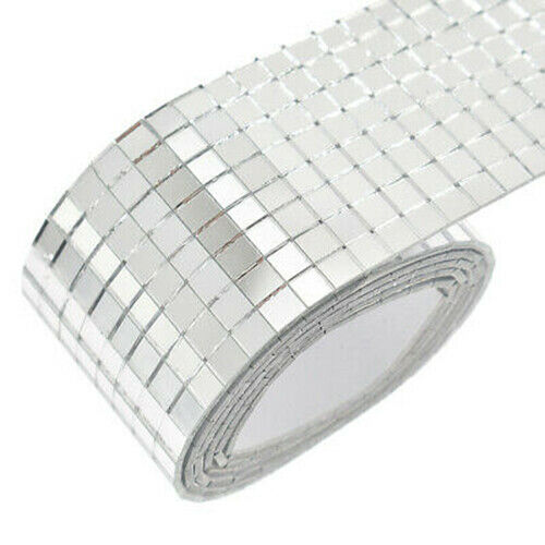 100x4cm Glass Mosaic Tiles Mirror Self Adhesive Sticker Mini Square Decal DIY