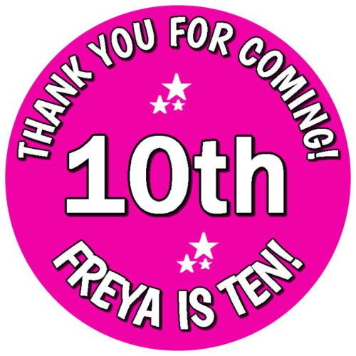 Pegatinas de cono dulce Personalizado Brillo 10th Cumpleaños Chica Rosa Bolsa Fiesta