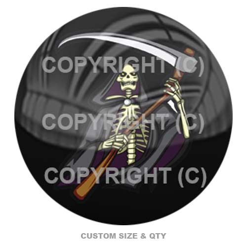 Premium Glossy Round 3D Epoxy Domed Decal Grim Reaper Skeleton Skull S-180