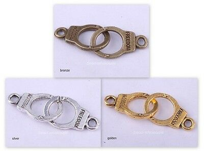 35Pcs Tibetan Silver Silver/Golden/Bronze handcuffs Charms Connectors Findings