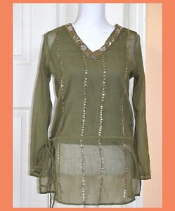 Green-Color-Sequins-Beads-Embroidered-Tunic-Top-Kurti-from-India