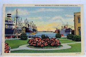 Alabama-AL-Mobile-State-Docks-Many-Nations-Ship-Postcard-Old-Vintage-Card-View