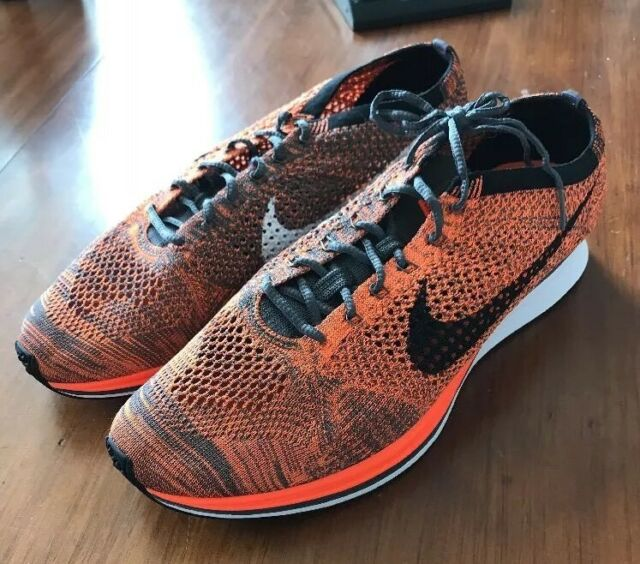 43ef5b4eedb31 Nike Flyknit Racer Total Orange White Dark Grey 526628-810 Men s ...