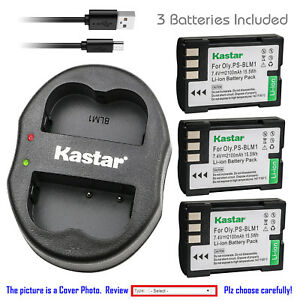 Kastar-Battery-Dual-Charger-for-Olympus-BLM-1-BLM-01-amp-Olympus-EVOLT-E-300-E300