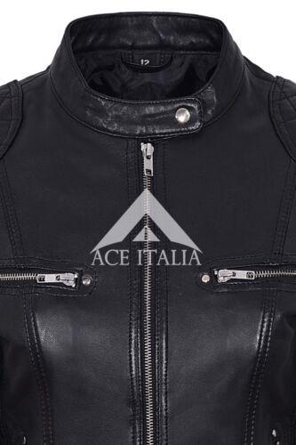 Ladies Leather Jacket Black Fashion Cool Retro Biker Style NAPA JACKET 8322