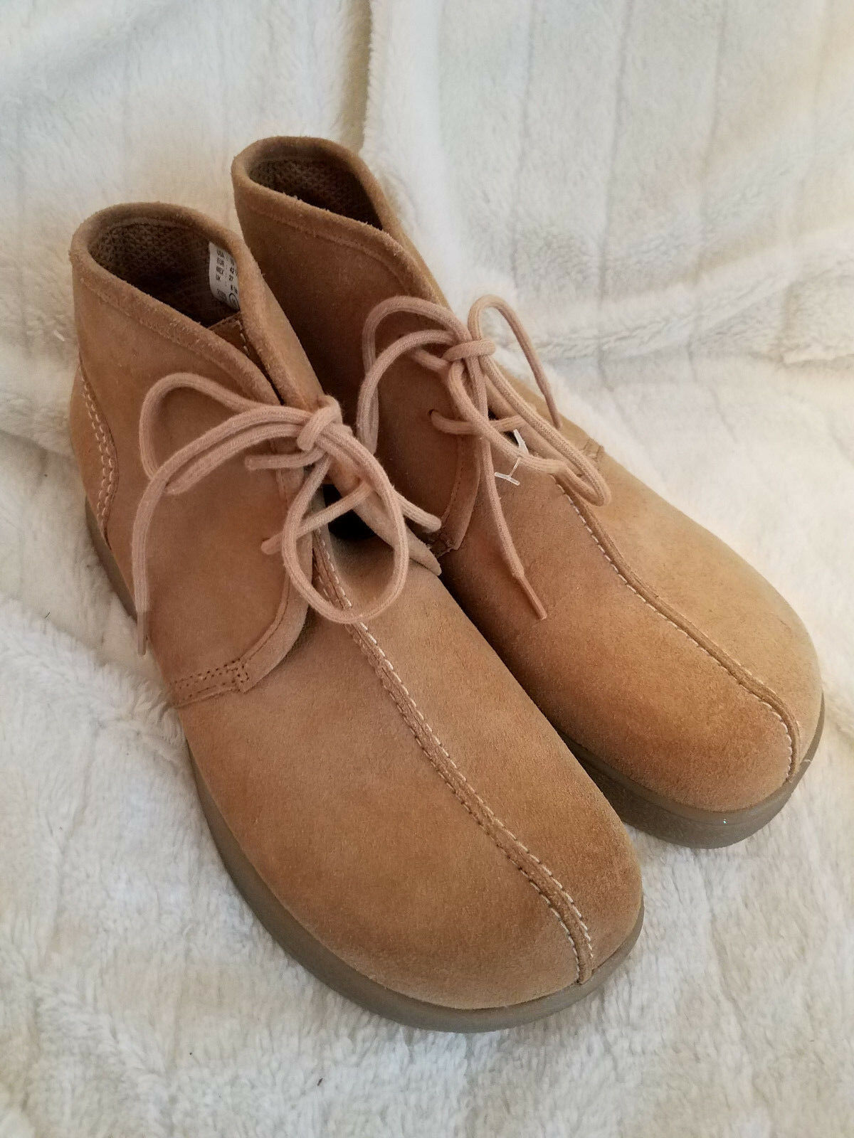 LOWER EAST SIDE Chunky Wedge Suede Ankle Boots TAN Womens Size 10