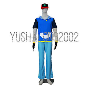 Pokemon Ash Ketchum Cosplay Costume Kostüm Hat Hut Cloth Handschuh