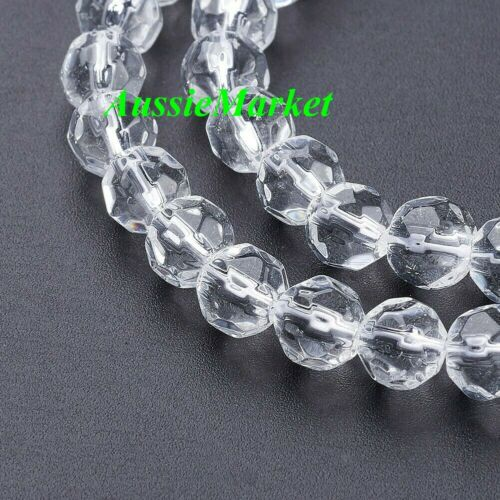 80 x crystal glass loose beads ball clear rondelle faceted round spacer new 6mm