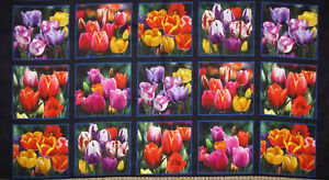 Tulip-Flower-Digital-Garden-Cotton-Fabric-Elizabeths-Studio-DP534-24-034-Panel