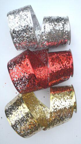 2.7 M Cinta De Lentejuelas De Navidad Con Cable Grande 63 mm plata oro o Elige color Rojo