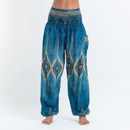 Damen Boho Pluderhose Haremhose Hippiehose Strand Yoga Baggy Aladin Sarouelhose