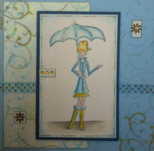 Girl with Umbrella Rain Rubber Stamp - Wood Mounted