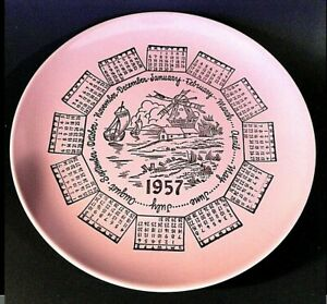 1957-CALENDAR-PLATE-TAYLOR-SMITH-PINK-GOLD-WIND-MILL-VINTAGE-MCM-8-1-4-034