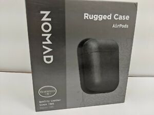 Nomad Rugged Rustic Black Leather Case For Apple Airpods 1 2