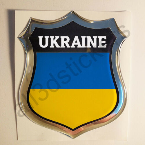 Sticker Ukraine Emblem 3D Resin Domed Gel Ukraine Flag Vinyl Decal Car Laptop