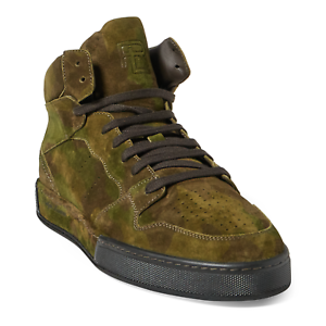 Ralph Lauren Purple Label Giancarlo Leather Suede Leather Giancarlo Camo Sneakers New $850 70c894