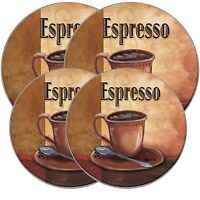 Electric Stove Top Range Round La Cafã Espresso Pattern Burner Covers, Set Of 4