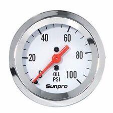 Sunpro Gauge Styleline Oil Pressure 0 100 Psi 2 In Analog Mechanical