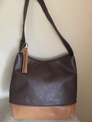 60ccbcc2a44d Arcadia Made in Italy Brown Soft Leather Satchel Shoulder Hobo Bag   eBay
