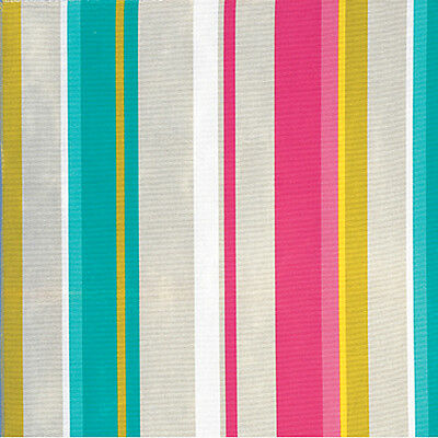 "Canvas Heavy Cotton 100% Upholstery Craft Fabric Multi-Colored Stripe Pink 44""w"