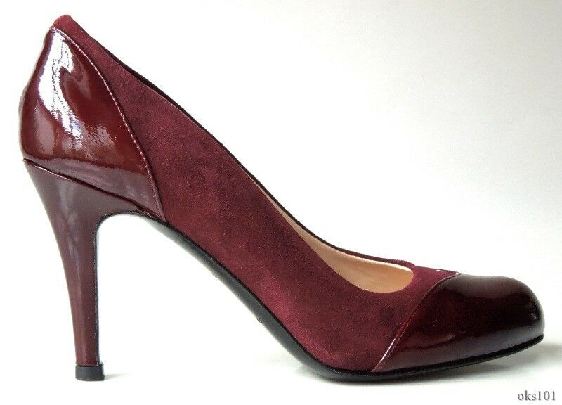 New New New CLAUDIA CIUTI 'Stefy' burgundy suede patent leather shoes  -very pretty f44004