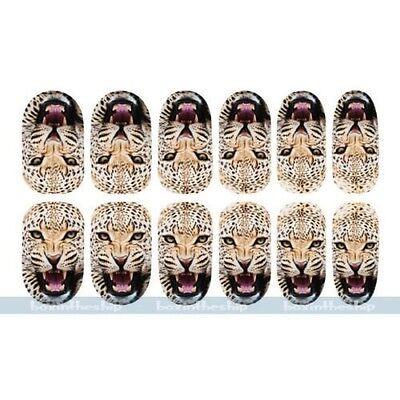 Luminous Glow Full WRAPS Leopard Tiger Animal Nail Art Stickers Tips DIY Decals